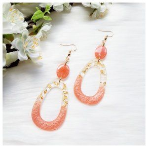 Peachy Melon Pink and Gold Fleck Open Oval Large Resin Dangle Statement Earrings